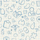 Medical Seamless Pattern on White Squared Paper Royalty Free Stock Image
