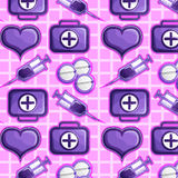 Medical seamless texture. Medical icons on a pink background: syringes, pills, heart, and first aid kits Stock Image