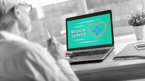 Medical service concept on a laptop screen. Laptop screen displaying a medical service concept royalty free stock photo