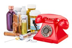 Medical service concept, phone with drugs. 3D rendering. Medical service concept, phone with drugs. 3D Royalty Free Stock Photography