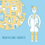 Medical service, health line design with doctor. And medical pattern Stock Photography