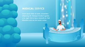 Medical Service Reception Desk Male Character stock illustration