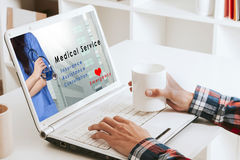 Medical service. Site of medical service in the portable computer Stock Photography