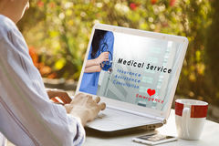 Medical service. Site of medical service in the portable computer Stock Image