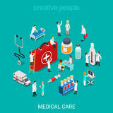 Medical services doctor nurse first aid kit flat 3d isometric. Flat 3d isometric medical services doctor nurse first aid kit concept web infographics vector Stock Image
