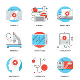 Medical services line icons set. Thin line icons of medical services, diagnostic equipment, surgery tools, psychology and pharmacology, ambulance emergency Stock Photography