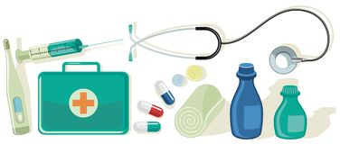 Medical Set. Various health and medicine related items Stock Images