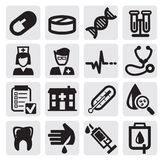 Medical set. Vector black medical icons set on gray Royalty Free Stock Photo