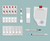 Medical set of drugs and devices Royalty Free Stock Photos