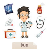 Medical set with a female doctor royalty free stock images