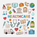 Medical set. Healthcare doodle set.Sticker.With thermometer stethoscope tablet capsule apple ambulance syringe tooth medical card Hospital Medical plaster phone Royalty Free Stock Image