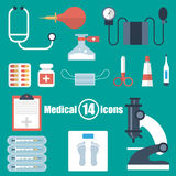 Medical set of 14 icons in a flat style Royalty Free Stock Photos