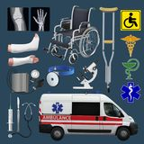 Medical set. Means of transportation, tools and devices. Health and medicine. Vector. Illustration Stock Images
