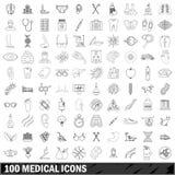 100 medical icons set, outline style. 100 medical set in outline style for any design illustration vector illustration