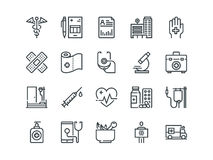 Medical. Set of outline vector icons. Includes such as Emergency, Heartbeat, Equipment and other. Medical and Healthcare. Set of outline vector icons. Includes Royalty Free Stock Photo