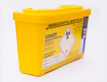 Medical sharps waste container Stock Image