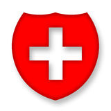 Medical shield. With cross over white background Royalty Free Stock Photography