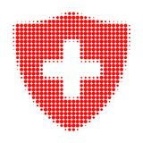 Medical Shield Halftone Dotted Icon vector illustration