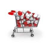 Medical shopping. 3D render of shopping trolley filled with medical capsules Royalty Free Stock Photo