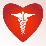 Medical sign. Medical red sign with heart and place for your text Royalty Free Stock Photography