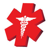 Medical sign. Medical red sign on the white background Stock Photo