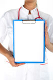 Medical sign - female doctor showing Stock Image