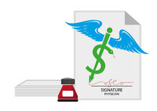 Medical Signature and document concept. Dollar sign on medicinal symbol pen. Editable  Clip Art. Medical Bills, Fraud, Excuse letters and more concept. Editable Royalty Free Stock Image
