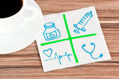 Medical signs on a napkin Stock Photo