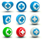 Medical signs. Set of first aid medical cross signs. 3d render illustration Royalty Free Stock Image