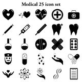 Medical 25 simple icons set. Medicine and health 25 simple icons set Royalty Free Stock Photos
