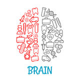 Medical sketch icons shaped as human brain symbol. Medical icons shaped as human brain for healthcare symbol design with red and gray sketches of pills, syringes Stock Images