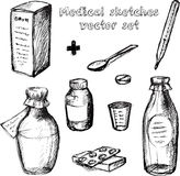 Medical sketches vector set Royalty Free Stock Image