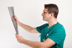 Medical specialist examining x-ray Stock Images