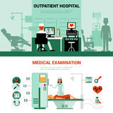 Medical Specialists Banners. With scenes of outpatient hospital and medical examination isolated vector illustration Royalty Free Stock Photo