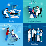 Medical specialists 4 flat icons square. Medical specialists concilium 4 flat icons square composition with dentist and nurse care abstract  vector illustration Royalty Free Stock Photos