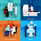 Medical specialists 4 flat icons square. Medical specialists mri scan 4 flat icons square composition with operation room surgery abstract  vector illustration Stock Photo
