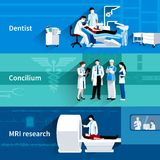 Medical specialists 3 horizontal banners set. Medical care professional concilium 3 horizontal banners set with dentist and mri scan abstract isolated vector Stock Image
