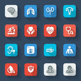 Medical specialties. Healthcare flat icons. Set of flat icons about health in a square with long shadow. Medical specialties Stock Images