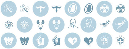 Medical Icons. A selection of icon design elements for the following medical specialties: cardiology, ENT, gynecology, internal medicine, nuclear medicine Stock Photo