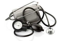 Medical sphygmomanometer and stethoscope Stock Photos