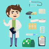 Medical staff character. Young man doctor. Therapist in uniform. Medicine objects flat cartoon style. Vector illustration. Medical staff character. Young man Stock Photos