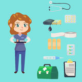 Medical staff character. Young woman nurse. Medicine objects flat cartoon style. Vector illustration. Royalty Free Stock Photos