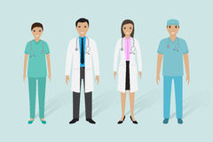 Medical staff group. Male and female doctors, nurse, medical orderly. Stock Image