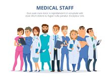 Medical staff. Group of male and female doctors. Team of hospital doctor and nurse. Vector illustration royalty free illustration