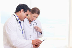 Medical staff looking at clip board Royalty Free Stock Photo
