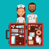 Medical staff man and woman with open first aid kit. Vector illustration Stock Photography