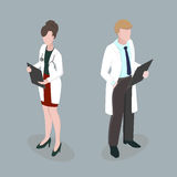 Medical staff Meeting doctors 3d isometric disign vector illustr. Medical staff Man and Woman Meeting doctors 3d isometric disign vector illustration Royalty Free Stock Photo