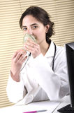 Medical staff member holding a ventilation mask Stock Photography