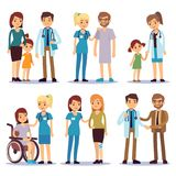 Medical staff with patients. Nurses and doctors with sick person vector cartoon characters set Stock Image