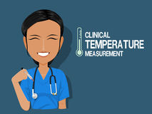Medical staff show clinical temperature measurement Royalty Free Stock Photo